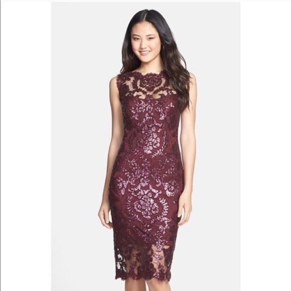 7a7f9381ee40 Tadashi Shoji Dresses | Paillette Embroidered Lace Sheath | Poshmark